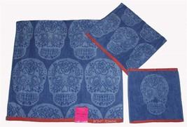 3 Betsey Johnson Sugar Skull Blue Coral Bath/Hand/Wash Cloth Towels Set Nwt Disc - $39.99