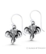 Elephant Head Wildlife Animal Charm .925 Sterling Silver Dangling Hook E... - $26.39