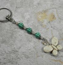 Howlite Butterfly Crystal Beaded Handmade Keychain Split Key Ring Turquoise - $16.48