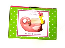 Boston Warehouse Pink Flamingo Dip Bowl & Spreader Set Two Piece Party D... - $17.75