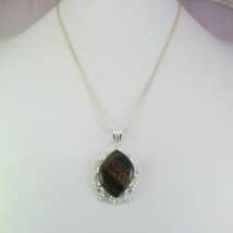 Jasper Stone Silver Overlay Fashionable Pendant With Chain/Necklace RS-14-44_287 - $4.35