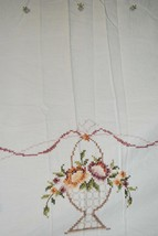 Vtg Tablecloth Cross Stitch Embroidered Flowers Crochet Cutwork Rectangl... - $59.40