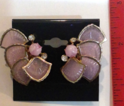 Purple Shells Thermoset? Lucite ? Gold Tone Screw on Earrings Well Made ... - $24.85