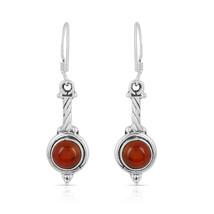 Red Onyx Gemstone Earring, 925 Silver Earring, Round Shape, Dangle Earring  - $14.99