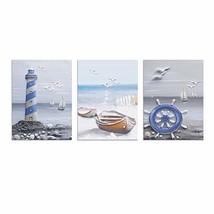 ArtBones New Coastal Wall Art Ocean Lighthouse Sailboat Painting Bathroo... - $36.10