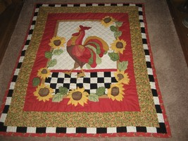 "Super Nice Hand made Holiday Quilt. Turkey Center. Fall Leaves. 57"" x 47... - $39.59"