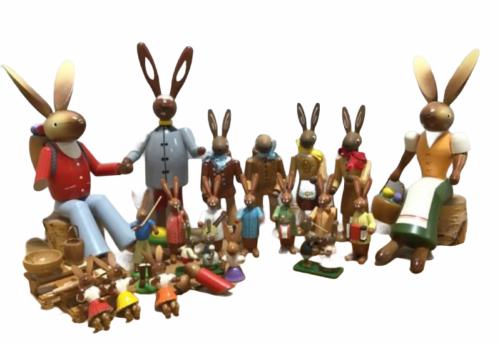 Large Vintage Lot Erzgebirge Kuhnert Wood Rabbit Bunny Easter Made in Germany