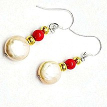 Pink Coin pearl, Natural red coral, handmade,drop dangle Earrings - $20.00