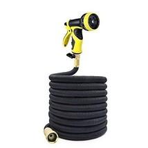 25Ft Water Hose Black 3 x  Flexible Expandable Durable Garden plus Spray... - $24.61