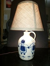 Vtg Wheel Turned Pottery Jug Lamp White & Black Americana Unity w/Burlap... - €29,36 EUR