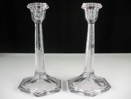 "Fostoria Cut No 1963 Candlesticks 2 pc Set, Antique c1914 9"" Tall Candle Holders - $53.61"