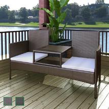 vidaXL Patio Rattan Wicker Garden Balcony Outdoor Bench Chairs Table 2 C... - $166.99+