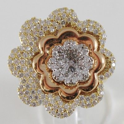 18K YELLOW ROSE WHITE GOLD BAND RING, BIG FLOWER DAISY, ZIRCONIA, MADE IN ITALY