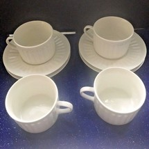 Majesticware  Athena 4 Coffee Cups & Saucers B&B White Embossed Porcelai... - £14.27 GBP