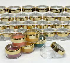 25 Cosmetic Jars Empty Beauty Makeup Containers Gold Acrylic Lids 10 Gra... - $21.95