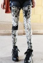 Women's Skinny Black White Floral Print Leggings Stretchy Jeggings - $8.86