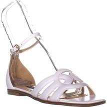 Nine West Genna Ankle Strap Flat Sandals, White Leather, 8 US - $42.61