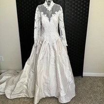 More Lee Dupioni Silk Lace Beaded Bridal Wedding Gown Long Sleeve w/ Tra... - $444.88
