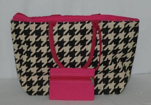 GANZ Brand Style 101 ER39334 Large Burlap Black Cream Purse Pink Handle