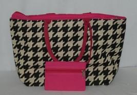 GANZ Brand Style 101 ER39334 Large Burlap Black Cream Purse Pink Handle image 1