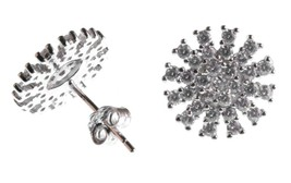 Ice by Jardin Sterling Silver 925 2Cttw CZ Crystal Pave Starburst Stud Earrings