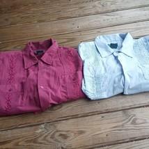 2 Vintage Tropicool Men's Embroidered Cuban Shirt Wedding Mexican Medium - $31.55