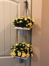 New 2 Silk Hanging Plant Faux Artificial Yello Flowers Nearly Natural - $88.11