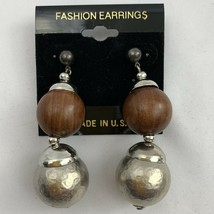 Chunky Boho Ethnic Wooden Hammered Silver Tone Beaded Dangle Earrings Pierced - $7.87