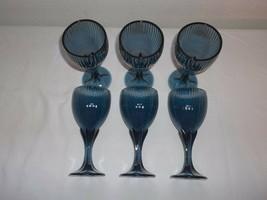 6-FOSTORIA Monet Dark Blue WINE/JUICE Goblet Glasses - $53.04