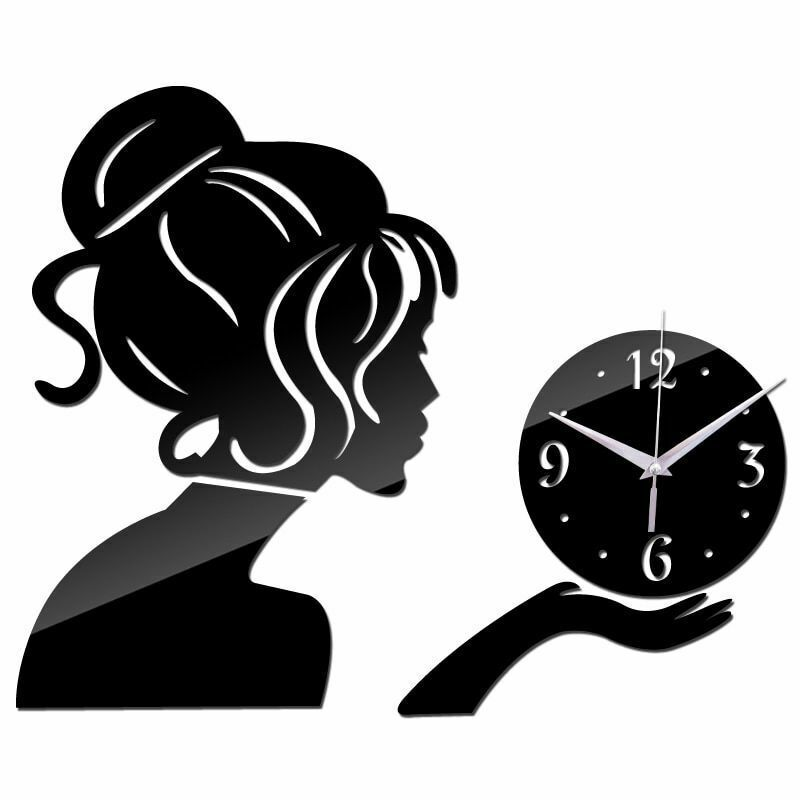 Primary image for Cute Lady Wall Clock Large Home Decor Living Room Modern Quartz Girl Watch Diy