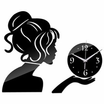 Cute Lady Wall Clock Large Home Decor Living Room Modern Quartz Girl Wat... - $18.78