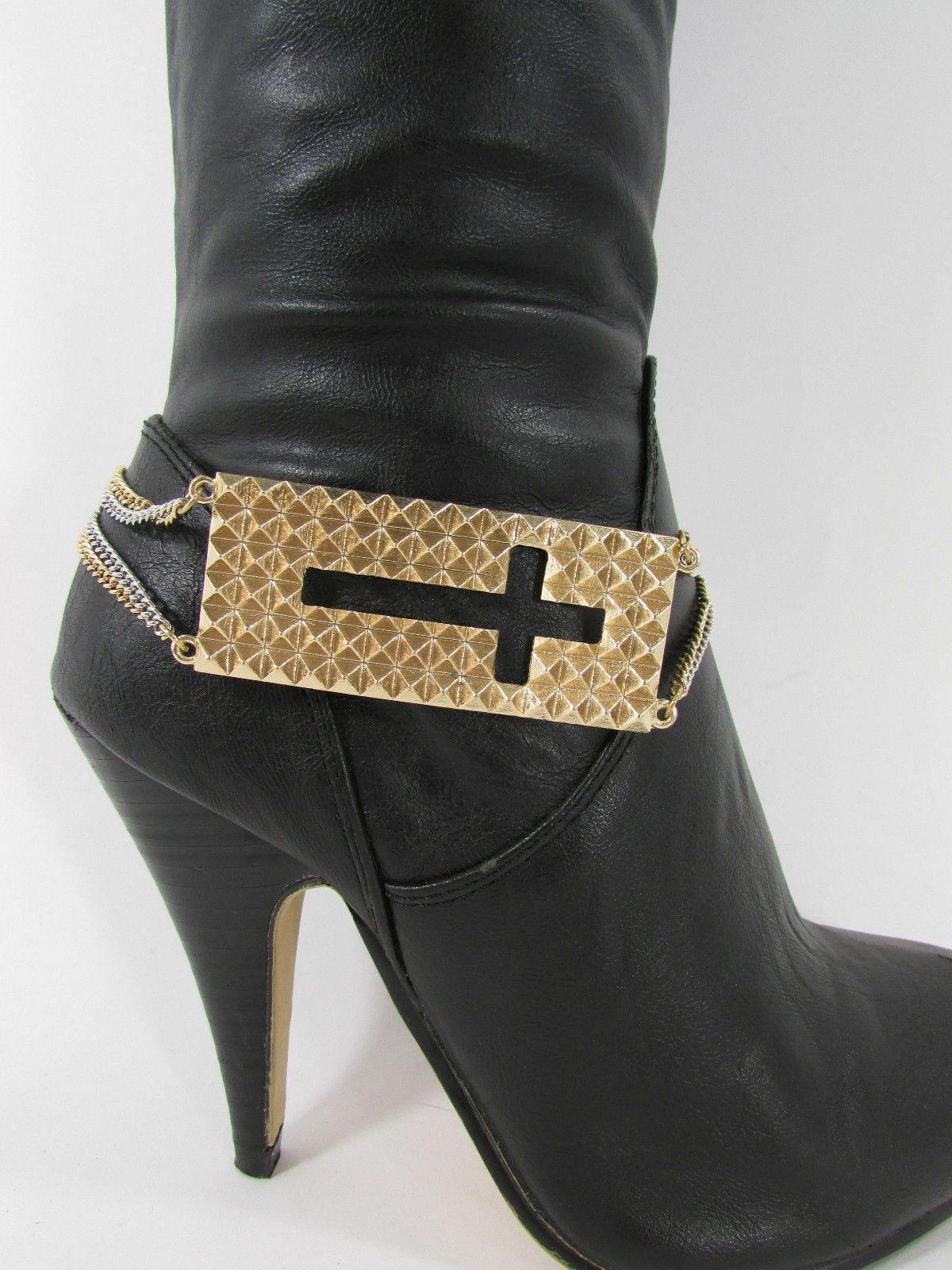 Mujer Moda Joyería Bota Brazalete Oro Placa Cruz Cadenas Zapato Bling Charm image 11