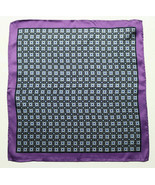 $35 Mens Bloomingdales Silk Navy Plum Medallion Neat Handkerchief Pocket... - $17.81