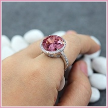 Pink Round Princess Cut Cubic Zirconia Crystal Encircled 925 Silver Plated Ring image 4