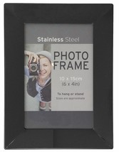 "STAINLESS STEEL GUNMETAL 6"" X 4"" METAL PHOTO FRAME 19.5CM X 14.5CM - €18,54 EUR"