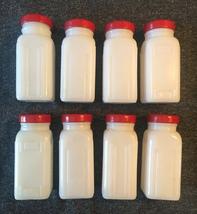 Vintage 40s Set of 8 Milk Glass Griffith jars image 4