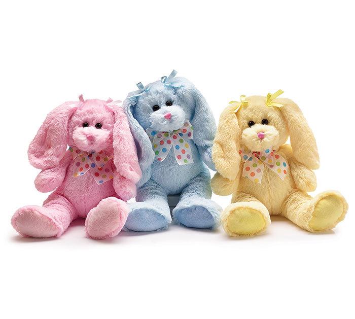 Image 1 of Set of 3 Plush Festive Pastel Colored Bunnies, burton & Burton