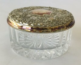 Glass Powder Jar with Embossed Silver-plate Lid Vanity Cosmetics Container - $24.18