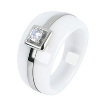 Fashion Mens Ring Simple Style Crystal Ring Stainless SteelRound Band He... - $25.43