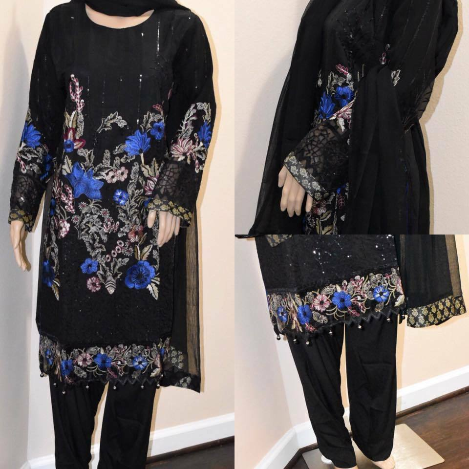 Primary image for Pakistani Fancy Black Floral Suit, with Thread Embroidery and sequins