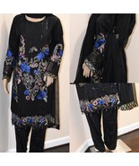 Pakistani Fancy Black Floral Suit, with Thread Embroidery and sequins - $95.00