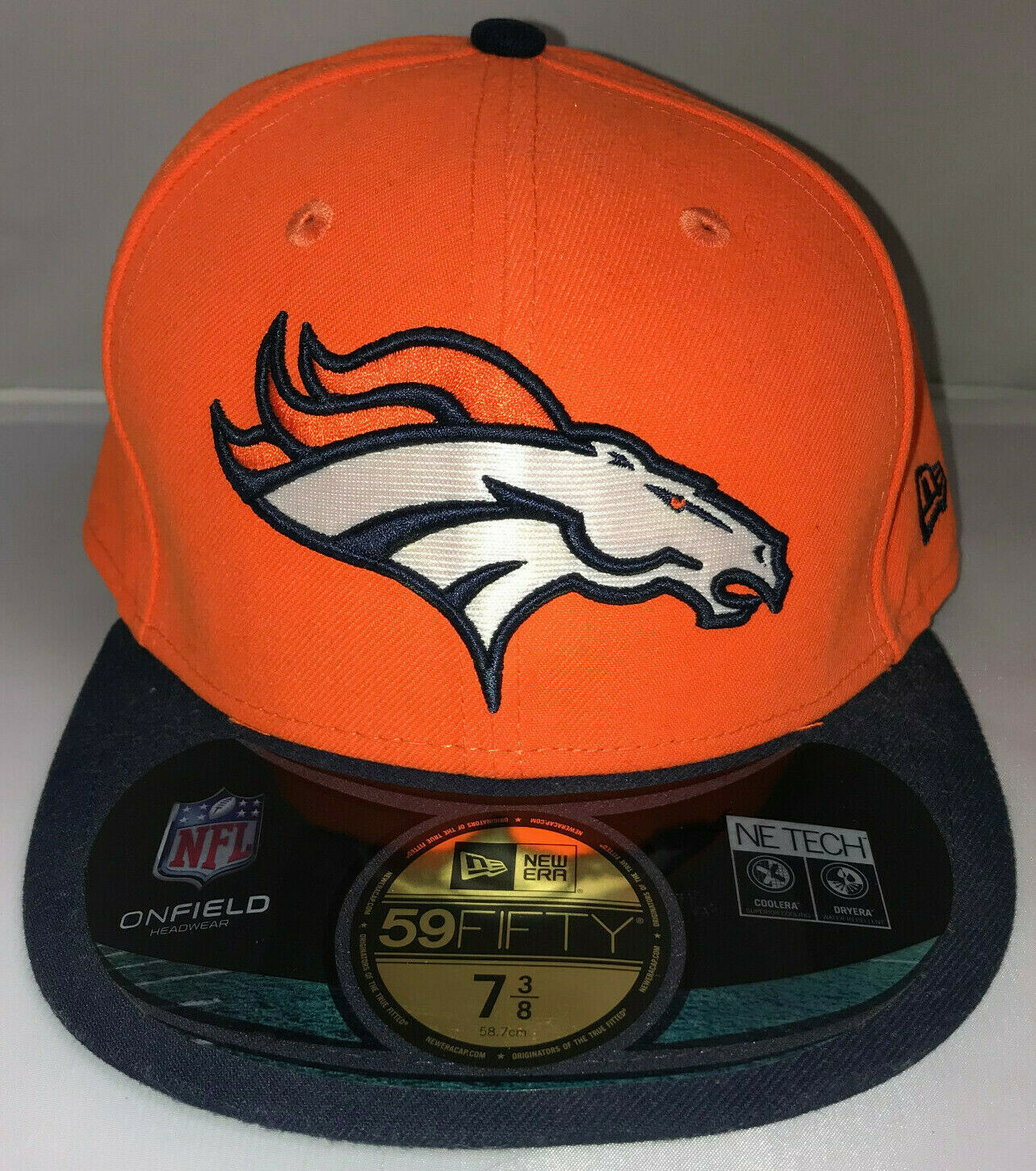 Primary image for Denver Broncos Fitted Hat Cap NFL New Era 59Fifty 7 3/8 On Field Flat Bill New