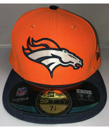 Denver Broncos Fitted Hat Cap NFL New Era 59Fifty 7 3/8 On Field Flat Bi... - $713,20 MXN