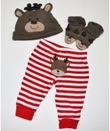 Infant Boy 3m Carter's HOLIDAY 3pc Reindeer Outfit Set Stripe Pants Hat ... - $7.99