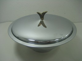 Mid Century Modern Kromex Corp Chrome Serving Dish Bowl with Lid - $16.79