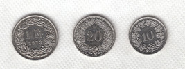 Switzerland coin set - 1 Franc 1973 + 20 Rappen 1982 + 10 Rappen 1997. ! - $14.99