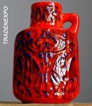 Vintage 1960's BAY KERAMIK 97 20 Folk Red Vase West German Pottery Fat L... - $29.69