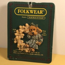 Boyds Bears Folkwear Pin Folk Art New Tbc 1995 Bone Wreath Puppy Dog Pet Ribbon - $14.85