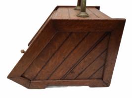 Vintage Antique Oak Wood Box Lid Scuttle Ash Coal Fireplace Liner Hearth Storage image 5