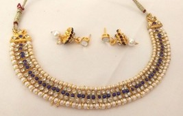 Indian Bollywood Ethnic Gold Plated Pearl Blue Bridal Jewellery Necklace Set - $10.09